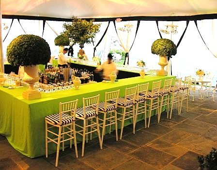 Yacht Clug Greewich Wedding Reception Bar Lime Green Black White Urns Tent Bawel Event