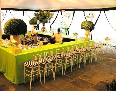 Yacht Clug Greewich Wedding Reception Bar Lime Green Black White Urns Tent Bawel Event